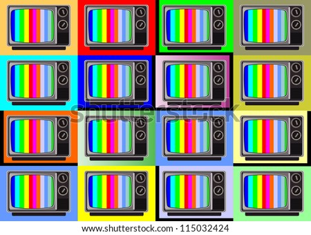 classic tv -colorful no signal background - stock vector