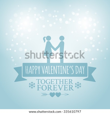 Classic vintage badge in retro design for Valentines Day with ribbon, snowflakes and snowfall on the blue background