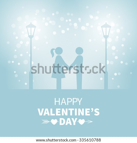 Classic vintage badge in retro design for Valentines Day with sweethearts and street light on the blue background with falling snow - stock vector