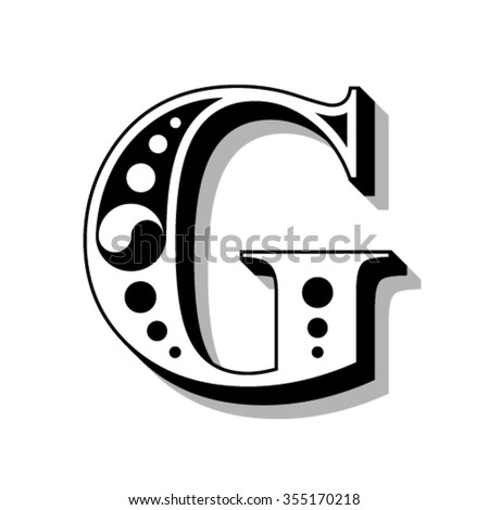 Classic vintage font, letter G, vector - stock vector