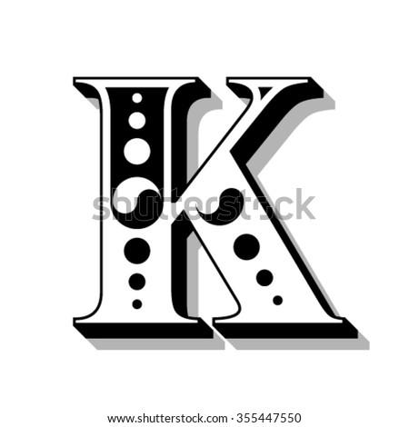 Classic vintage font, letter K, vector - stock vector