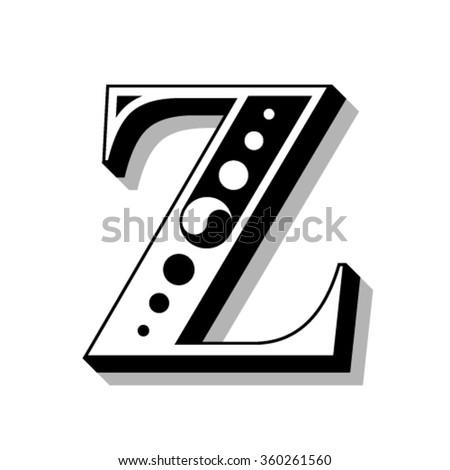 Classic vintage font, letter Z, vector - stock vector