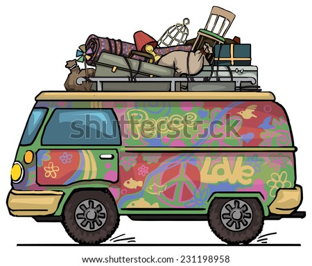 Classic vintage hippie van, bus, painted, with luggage on top vector illustration - stock vector