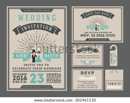 Classic vintage sunburst wedding invitation design with couple cartoon. Collection Included RSVP card, Save the date card, Thank you card, Gift tags, Table place card. All font types use free font - stock vector