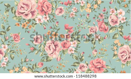 classic wallpaper seamless vintage flower pattern on green background - stock vector