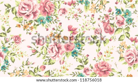 classic wallpaper seamless vintage flower pattern vector background - stock vector