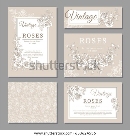 Classic wedding vintage invitation cards roses stock vector classic wedding vintage invitation cards with roses and floral elements vector templates invitation card wedding stopboris Image collections