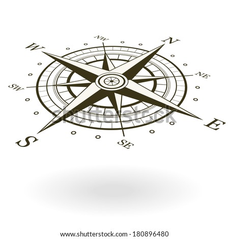 Classic wind rose isolated on white background. View from above and one side. - stock vector