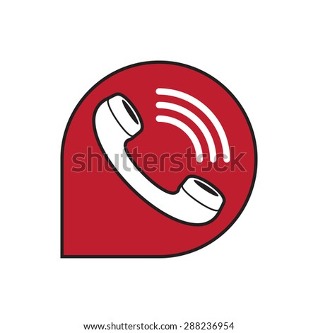 Classic wire phone handset in speech bubble icon - stock vector
