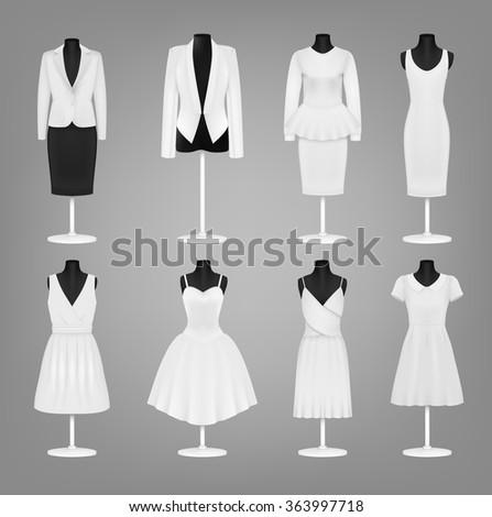 Classic women's plain dress template - stock vector