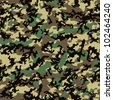 Classic Woodland Camo Pattern (Seamless Repeatable Vector) - stock photo