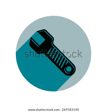 Classic wrench detailed illustration. Work tool, simple spanner. Repair instrument icon, best for use in advertising, vector. - stock vector