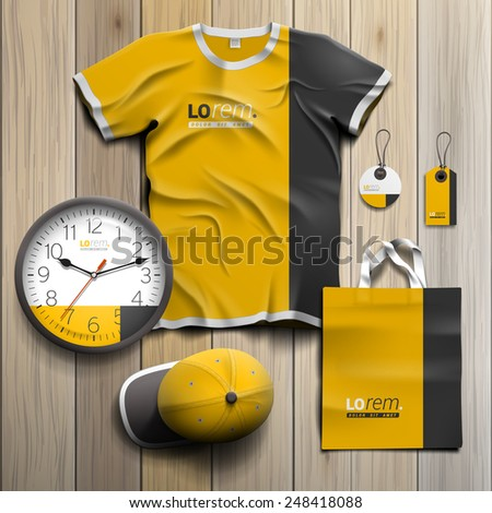 Classic yellow promotional souvenirs design for corporate identity with black vertical line. Stationery set - stock vector