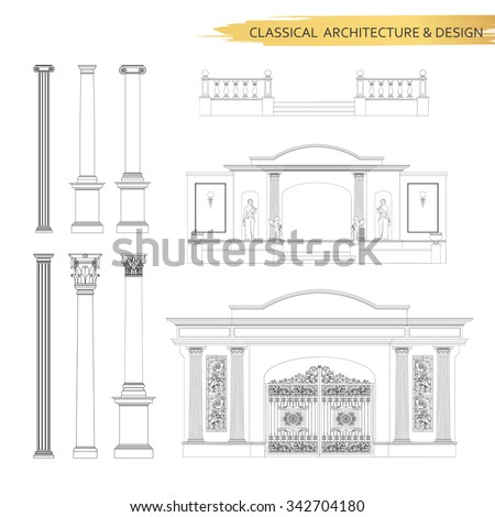 Classical architectural form drawings in set. Vector drawing design elements for classic architecture. - stock vector