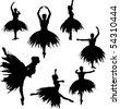 Classical Ballerina Silhouettes - stock vector
