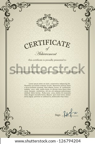 Classical Certificate with floral design ornamental elements - stock vector