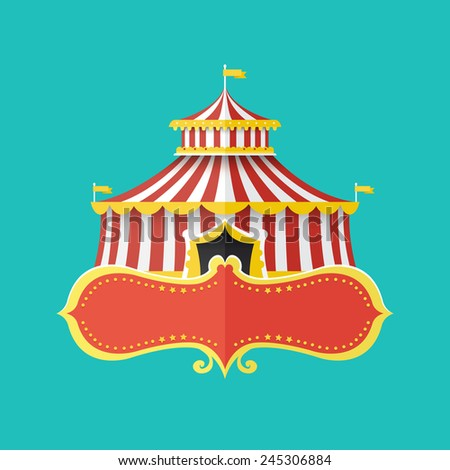 Classical Circus tent with banner for text, Vector illustration - stock vector