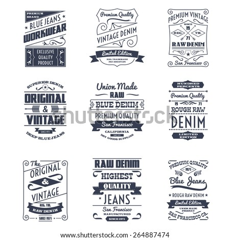 Classical denim jeans typography logo emblems limited edition graphic design icons collection black abstract isolated vector illustration - stock vector