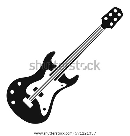 classical electric guitar icon simple illustration stock vector