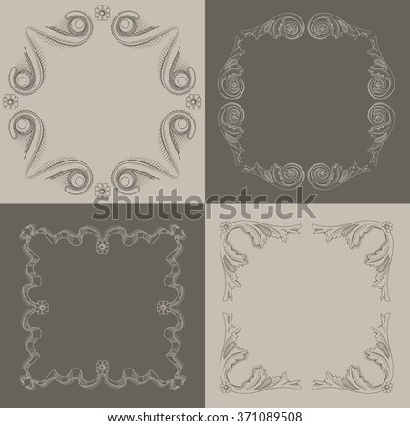 Classical frames, vignettes in the art of engraving. - stock vector