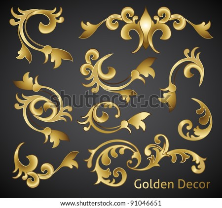 classical golden decor vector elements - stock vector