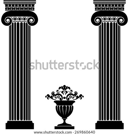 Classical greek or roman columns and vase isolated on white background. Vector illustration - stock vector