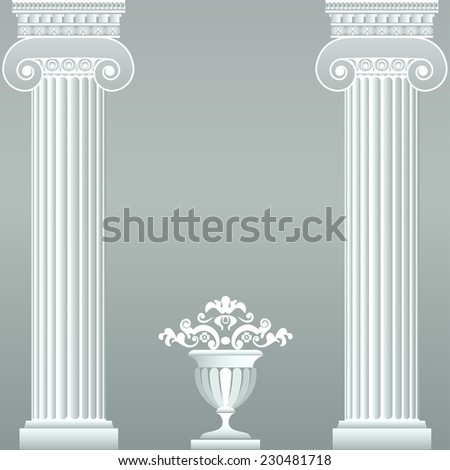 Classical greek or roman columns and vase. Vector illustration - stock vector