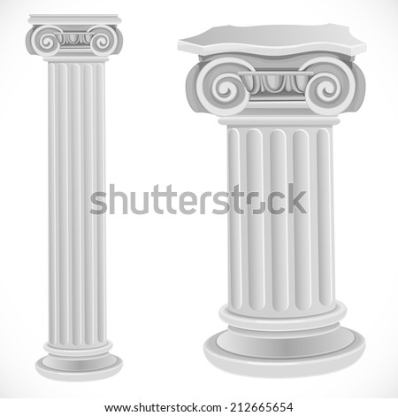 Classical greek or roman ionic white column isolated on white background
