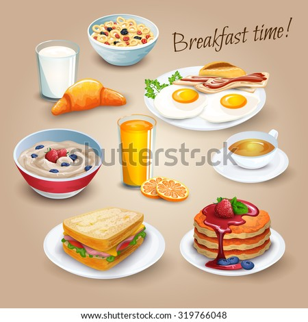 Classical hotel breakfast menu poster with fried eggs bacon and orange juice realistic pictograms composition vector illustration - stock vector