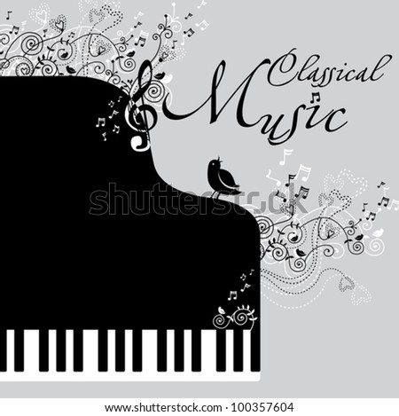 Classical music. Illustration of a piano, flowers and birds. - stock vector