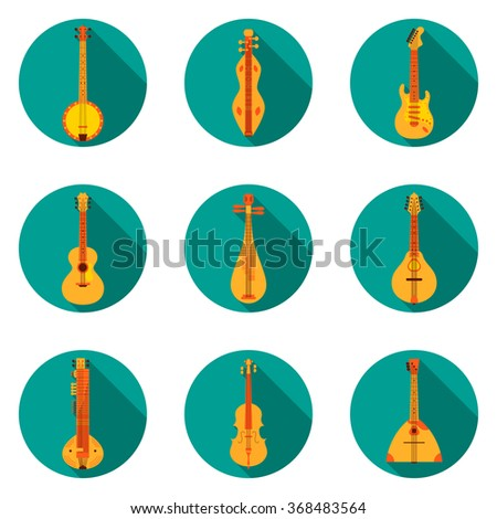 Classical Music Instruments Flat Icons Vector Illustration. Flat design illustration with various icons of instruments: banjo, dulcimer, electric guitar, acoustic guitar, lute, mandolin, sitar etc. - stock vector