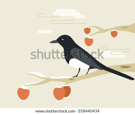 Classical paintings of Korea. Bird sitting on Persimmon. - stock vector