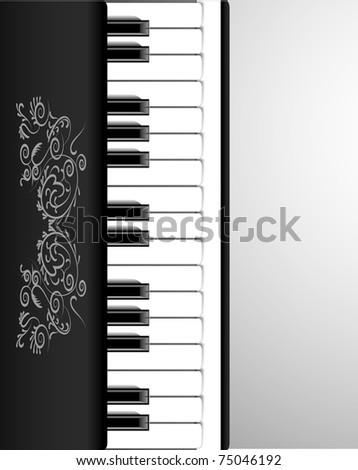 Classical piano with beautiful ornament and spaces for your message