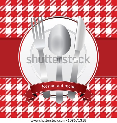 Classical red restaurant menu design - stock vector