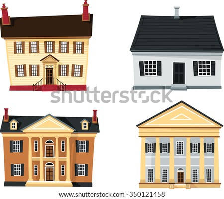 Classical Revival Homes-Set of different old architecture in cartoon style - stock vector