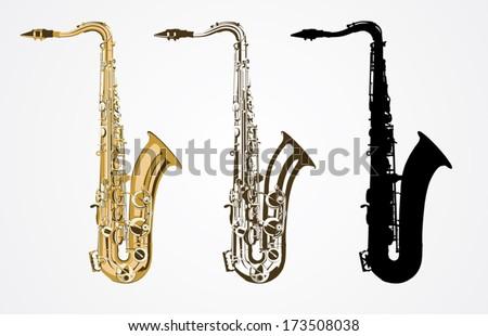 Classical saxophone vector  - stock vector