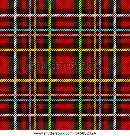 Classical Scottish checkered plaid. Seamless vector pattern with stripes and diagonal hatching. Retro textile collection. Red, brown, black with white and yellow stripes. Backgrounds & textures shop.  - stock vector