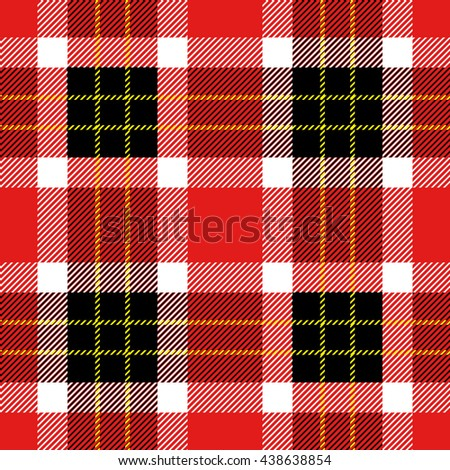 Classical Shirt Seamless Pattern. Checkered Plaid Vector Background. Retro Textile Design motifs. Chequered cotton fabric. Checkers with hatched strips. Cotton-looking cloth texture. Red, black. - stock vector