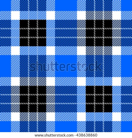 Classical Shirt Seamless Pattern. Checkered Plaid Vector Background. Retro Textile Design motifs. Chequered cotton fabric. Checkers with hatched strips. Cotton-looking cloth texture. Blue, black. - stock vector