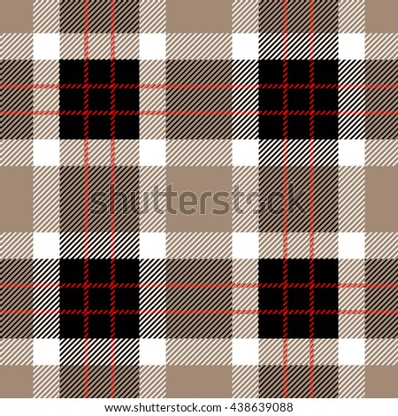 Classical Shirt Seamless Pattern. Checkered Plaid Vector Background. Retro Textile Design motifs. Chequered cotton fabric. Checkers with hatched strips. Cotton-looking cloth texture. Grey, beige. - stock vector