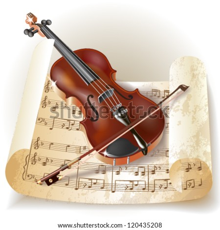 Classical violin with notes in retro style. Vector illustration. - stock vector