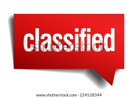classified red 3d realistic paper speech bubble - stock vector