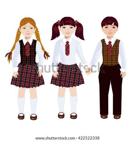 Classmates in school uniform. Boy holds girl hand. The schoolgirl reads textbook. - stock vector