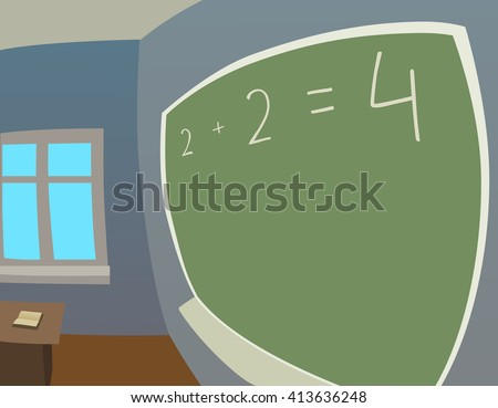 classroom in fisheye - stock vector