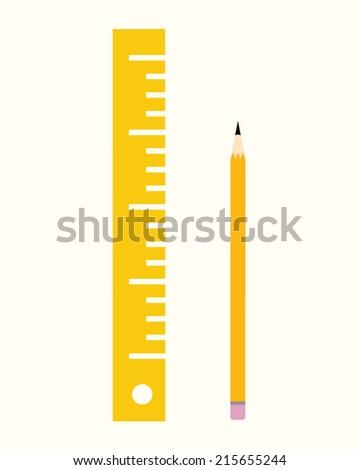 Classroom Ruler and Pencil Set - Vector - stock vector