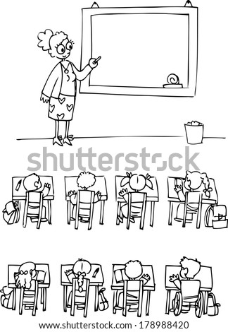 Classroom with teacher and many pupils - stock vector
