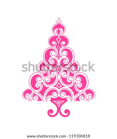 Classy cutout christmas tree -  outline is in small circles - stock vector