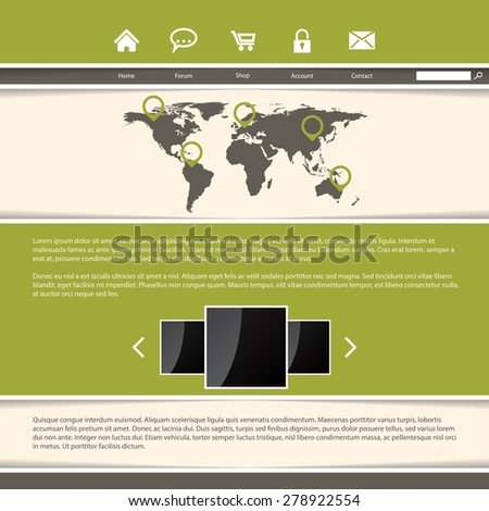 Classy website template design with green stripes and cool shadows - stock vector