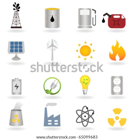 Clean alternative energy and environment symbols - stock vector