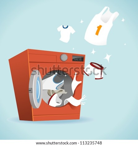 Clean and bright laundry - stock vector